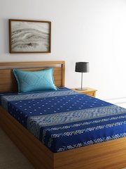 SPACES Navy Cotton 144 TC Single Bedsheet with 1 Pillow Cover