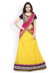 Triveni Yellow & Black Net Semi-Stitched Lehenga Choli with Dupatta