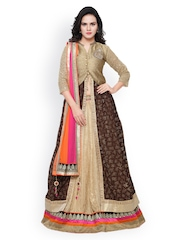 Triveni Gold-Toned & Brown Georgette Semi-Stitched Lehenga Choli with Dupatta