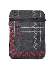 Baggit Women Black Embroidered Denim Mobile Pouch