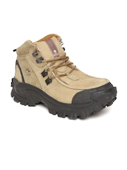 ProPlanet by Woodland Men Brown Solid Mid-Top Flat Boots
