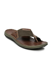 Woodland Men Brown Colourblocked Leather Sandals