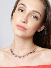 Accesorize Gunmetal-Toned Floral Stone-Studded Collar Necklace