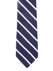 Peter England Statements Navy Blue & White Striped Tie