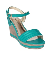 Paprika by Lifestyle Women Turquoise Blue Quilted Wedges
