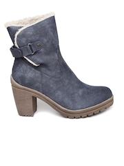 Carlton London Women Blue High-Top Leather Heeled Boots