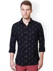 Peter England Men Navy Printed Slim Fit Casual Shirt