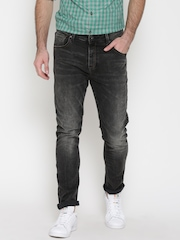 United Colors of Benetton Men Charcoal Grey Carrot Fit Mid-Rise Clean Look Jeans