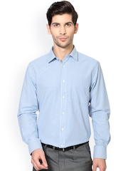 Peter England Blue & White Nuvo Fit Checked Formal Shirt