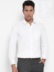 John Miller Men White Slim Fit Self-Striped Formal Shirt