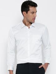 John Miller Men White Slim Fit Solid Smart Casual Shirt
