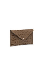 Toteteca Brown Envelope Clutch with Cut-Outs