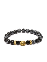 The Bro Code Men Black & Grey Beaded Buddha Bracelet