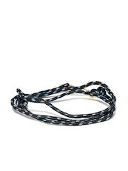 The Bro Code Men Black & Blue Patterned Wrap-Around Bracelet