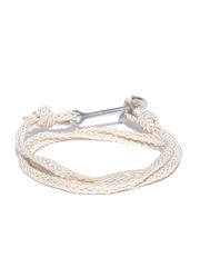 The Bro Code Men Off-White Braided Wrap-Around Bracelet