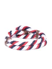 The Bro Code Men White & Navy Patterned Wrap-Around Bracelet