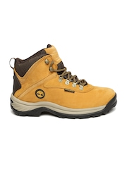 Timberland Men Mustard Yellow Solid Leather Waterproof White Ledge Trekking Shoes