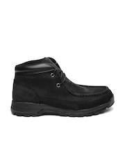 Timberland Men Black Solid Stratmore Leather High-Top Flat Boots