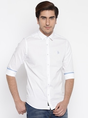 Being Human Men White Solid Casual Shirt