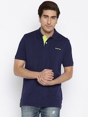 Being Human Clothing Men Navy Blue Polo T-Shirt