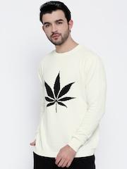 Kook N Keech Men Off-White Patterned Sweater