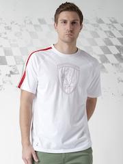 Ferrari Scuderia Men Embroidery Shield White Solid Round Neck T-shirt