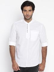The Indian Garage Co Men White Linen Kurta