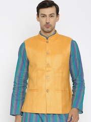 Raymond Ethnix Orange Silk Nehru Jacket