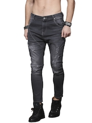 Roadster Men Charcoal Grey Skinny Fit Low-Rise Highly Distressed Jeans