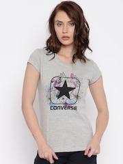 Converse Women Grey Printed Round Neck T-Shirt