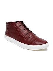 Knotty Derby Men Maroon Textured Leather Lockhart Sneakers