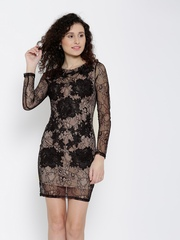 FOREVER 21 Women Black & Nude-Coloured Lace Sheath Dress