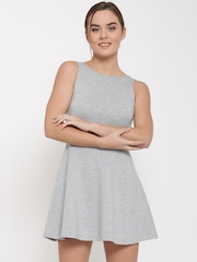 FOREVER 21 Women Grey Melange Solid Skater Dress