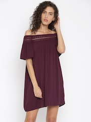 FOREVER 21 Women Burgundy Solid Off-Shoulder Dress
