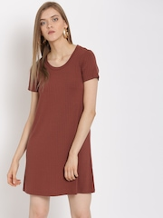 FOREVER 21 Women Rust Red Self-Striped A-Line Dress