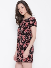 FOREVER 21 Women Black & Pink Printed A-Line Dress