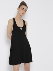FOREVER 21 Women Black Solid A-Line Dress