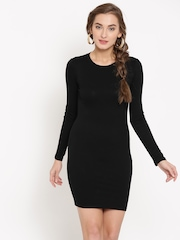 FOREVER 21 Women Black Solid Bodycon Dress