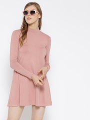 FOREVER 21 Women Dusty Pink Solid A-Line Dress