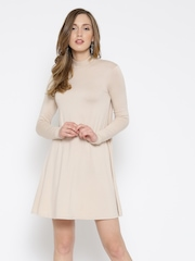 FOREVER 21 Women Beige Solid A-line Dress