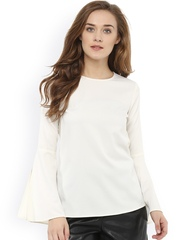 Femella Women Off-White Solid Regular Top