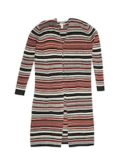 FOREVER 21 Women Brown & Grey Striped Longline Cardigan