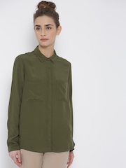 FOREVER 21 Women Olive Green Solid Longline Casual Shirt