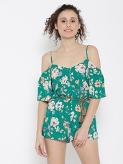 FOREVER 21 Green & Off-White Floral Print Playsuit