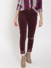 FOREVER 21 Women Burgundy Solid Flat-Front Slash Knee Corduroy Trousers