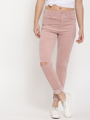 FOREVER 21 Women Pink Solid Flat-Front Slash Knee Corduroy Trousers