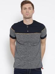 Fort Collins Men Navy Striped Henley Neck T-Shirt
