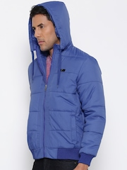 Fort Collins Blue Bomber Jacket with Detachable Hood