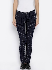 AND by Anita Dongre Women Navy Polka Dot Print Chinos