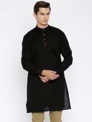indus route by Pantaloons Men Black Solid Straight Kurta